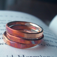 Heat Treated Copper Stacking Rings Set of Three by torchandhammer
