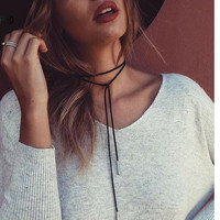 SUEDE NECKLACE CORD Long Black Faux Leather Wrap Choker Necktie Maxi Rope String Wrap Bow Tie Choker Collar Gold Tips Ends Boho Gothic Sexy