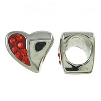 Stainless Steel Red Rhinestone Heart Charm Bead