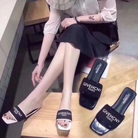 """Givenchy"" Fashion Casual Letter Slippers Women All-match Sandals Flats Shoes"