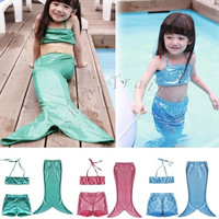 3pcs/suit Girls Kids Mermaid Tail Swimmable Bikini Set Swimwear Swimsuit Swimming Costume = 1946447364