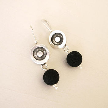 Sterling Silver and Lava Rock Stone Earrings - Black and Silver - Circle and Round Earrings with Lava Ball - Contemporary Jewelry - Original