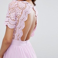 Club L Maxi Dress With Crochet Lace Detail & Cut Out Back at asos.com