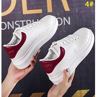 Alexander McQueen Fashion New Leather Tail Women Men Sports Leisure Contrast Color Shoes 4#