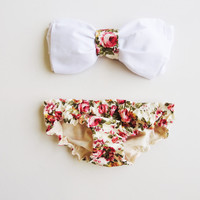 Vintage Bow Bandeau Sunsuit All Cotton Bikini by PitaPataDiVa