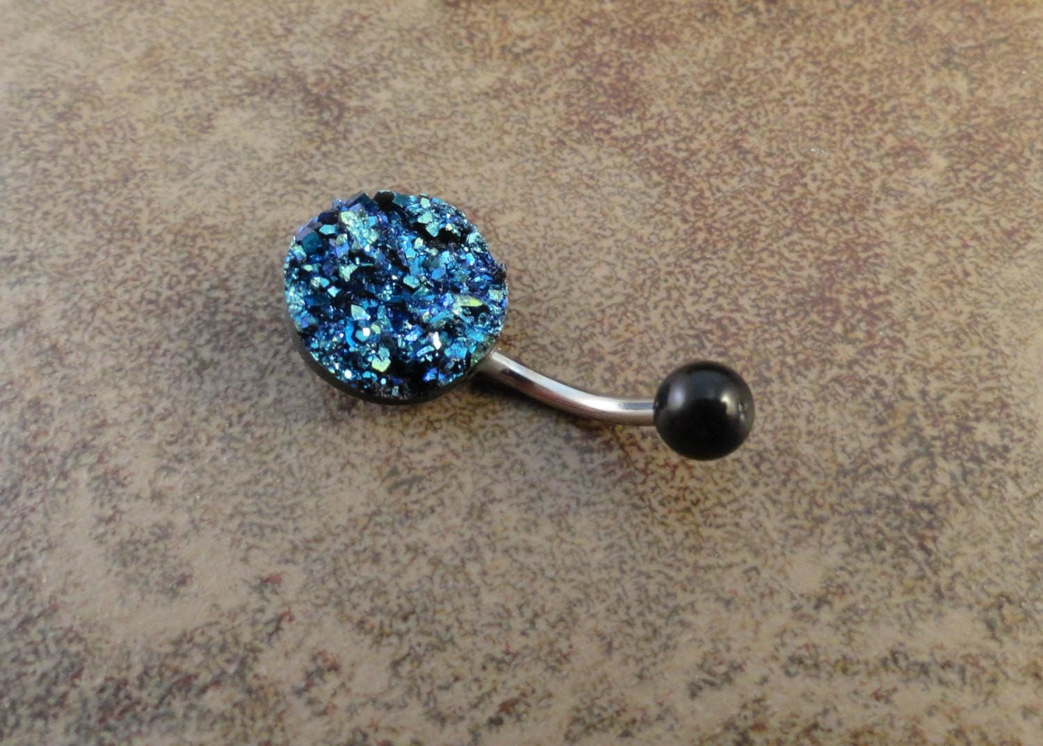 Image of Iridescent Druzy Belly Button Jewelry Ring Blue Emerald Green