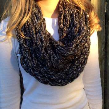Gray and White Arm Knit Scarf, Arm Knit Infinity Scarf, Arm Knit Cowl