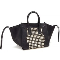 Trapeze Tote With Metal Stud Panel