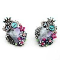 DaisyJewel Earrings Glossy Gunmetal & Lilac Springtime Steampunk Flower Bouquet of Owls in Full Bloom - Skin-Safe - Betsey Johnson Style Inspired - Pearlized Cool Spring & Summer Colors Compliment Each Other in Swirly Enamel and Crystal Encrusted Flowers -