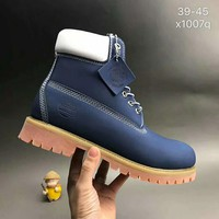 Timberland boots for men and women shoes waterproof Martin boots lovers blue I-CSXY