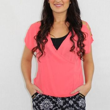 The Chill Cut Out Sheer Coral Top