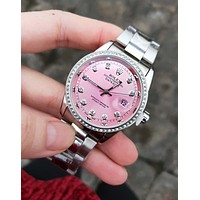 Rolex Classic Popular Women Men Chic Diamond Quartz Watch Wristwatch Pink I/A