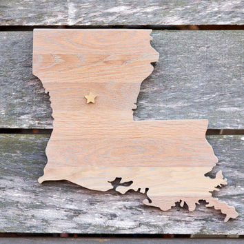Louisiana state shape wood cutout sign wall art crafted from repurposed Oak flooring 14x17 in. Wedding Housewarming Cabin Rustic Gift Decor