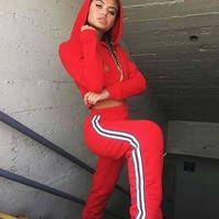 Hot Spring Autumn Female Clothes Sexy Sweatsuits Suits Fashion Street Hooded Short Sweater Suit Casual Women Two Pieces Sets
