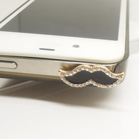 1PC Funny Bling Crystal Framed Mustache Cell Phone Earphone Jack Antidust Plug Charm for iPhone 5c,5s,Samsung S3,S4 Gift for Him Friend Gift