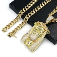 Hip Hop ICED Gold 14K JUMBO Logic Jesus Brass Pendant w 10mm Cuban Chain Set