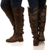 Bow-rn To Be Girly Boots in Brown