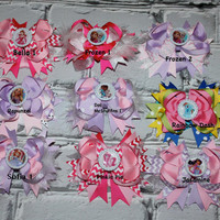SALE NEW ITEM You pick 3 Boutique Baby Girls Layered Disney Character Hair Bow Clips..Perfect for Disney Photo Props Birthday St
