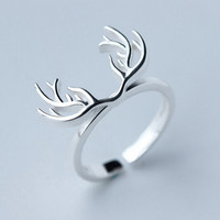 Vintage 925 Sterling Silver Antler Open Ring Adjustable -157