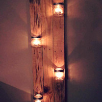 Mason Jar Candle Holder Rustic Home Decor Ambient Lighting Country Wood Beachy