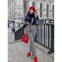 Jakuard Houndstooth Fashion Winter Two Piece Set