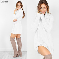 Solid Knitted Sweater Turtleneck Dress