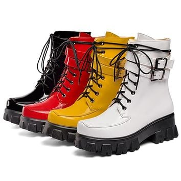 Women Fashion Patent Leather Lace-Up Buckled Ankle Boots