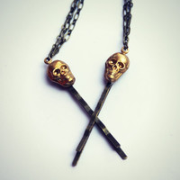 skull chain bobby pins, hair clips, bobby pins with chains, skull hair accessory, connected bobby pins
