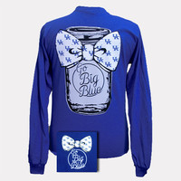 New UK Kentucky Wildcats Big Blue Mason Jar Bow Girlie Bright Long Sleeve T Shirt