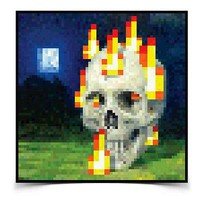 """Minecraft Burning Skull Poster Picture Wall Art Print Official Licensed 24""""x24"""""""