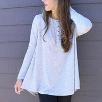 Long Sleeve Round Neck Soild Color T Shirt