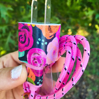 Pink Floral iphone 5 6 7 charger