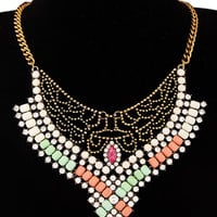 Multicolor Cut Out Crystal Stone Necklace