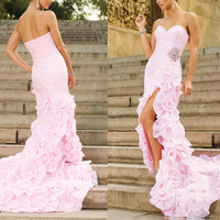 Elegant beading long-train evening dress from Your Closets
