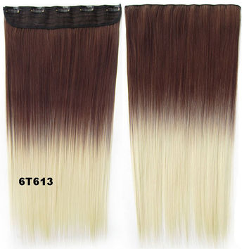 """Dip dye hairpieces New Fashion 24"""" Women Clip in on gradient wig Bath & Beauty Hair Ombre Hair Extensions Two Tone Straight hair Gradient Hair Extension Colorful Hairpieces GS-666 6T613,1PCS"""