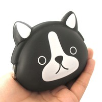 Black and White French Bulldog Puppy Dog Shaped Animal Friends Silicone Clasp Coin Purse Pouch