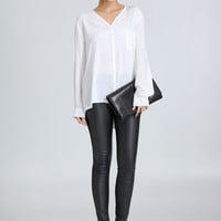 White V-Neck Long-Sleeve Chiffon Shirt With Pocket