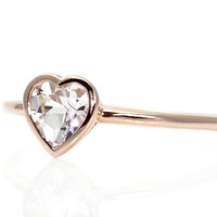 Heart White Sapphire Engagement Ring Bezel Solitaire Sapphire Ring 14K White Yellow Rose Gold
