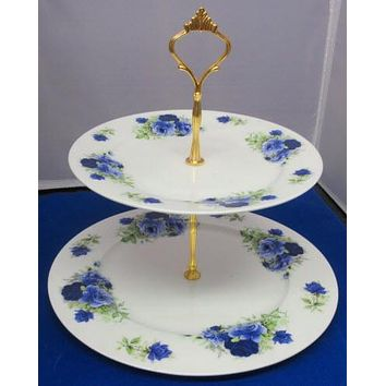 2 Tier Summertime Blue Roses English Bone China Cake Stand Made in England