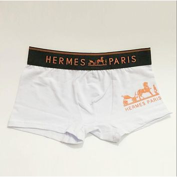 Hermes Popular Men Print Cotton Underwear(6-Color) White