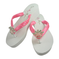 Princess Wedding Wedge Flip Flops in Crown Tiara Bling- Ivory White- 3 Heel Heights