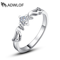 Angel Wings Pure 925 Sterling Silver Rings For women Sparkling Engagement Wedding Bands Rings Promise Ring Bridal Fine Jewelry