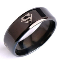 Wide 8mm Black superman S rings 316L Stainless Steel finger ring for men jewelry = 1946216644
