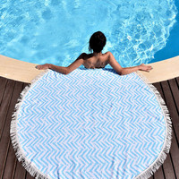 Wave Print Fringed Round Beach Towel, Yoga Mat,Tapestry 11169