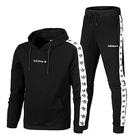 Adidas Fashion Casual Hooded Sport Cardigan Jacket Coat Pants Trousers Set Two-Piece