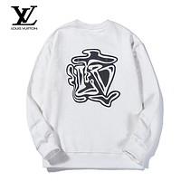 LV Louis Vuitton Autumn and winter fashion casual colorful reflective printing sweater White