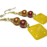 Drop Dangle Earrings Orange Red Yellow Sparkle Glitter Shimmer Gold Plated Hypoallergenic Spring Summer Fashion Jewelry