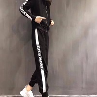 """Balenciaga"" Women's Leisure  Fashion Letter Printing Spell Color Hooded Long Sleeve Trousers Two-Piece Casual Wear"