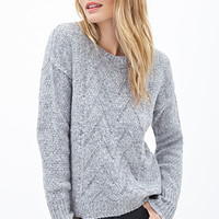 LOVE 21 Chevron Knit Crewneck Sweater Heather Grey