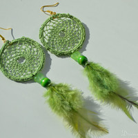 Green Dreamcatcher Earrings, Green Feather Earrings, Dangle Earrings